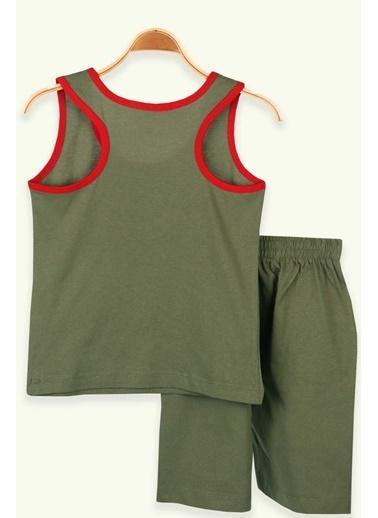 Breeze Erkek Çocuk Şortlu Takım Yazı Baskılı Haki Yeşil (4-7 Yaş) Yeşil